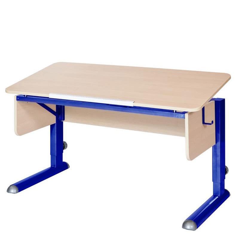 Парта для школьника для дома Астек МОНО-2 (цвет столешницы: береза, цвет ножек стола: синий)