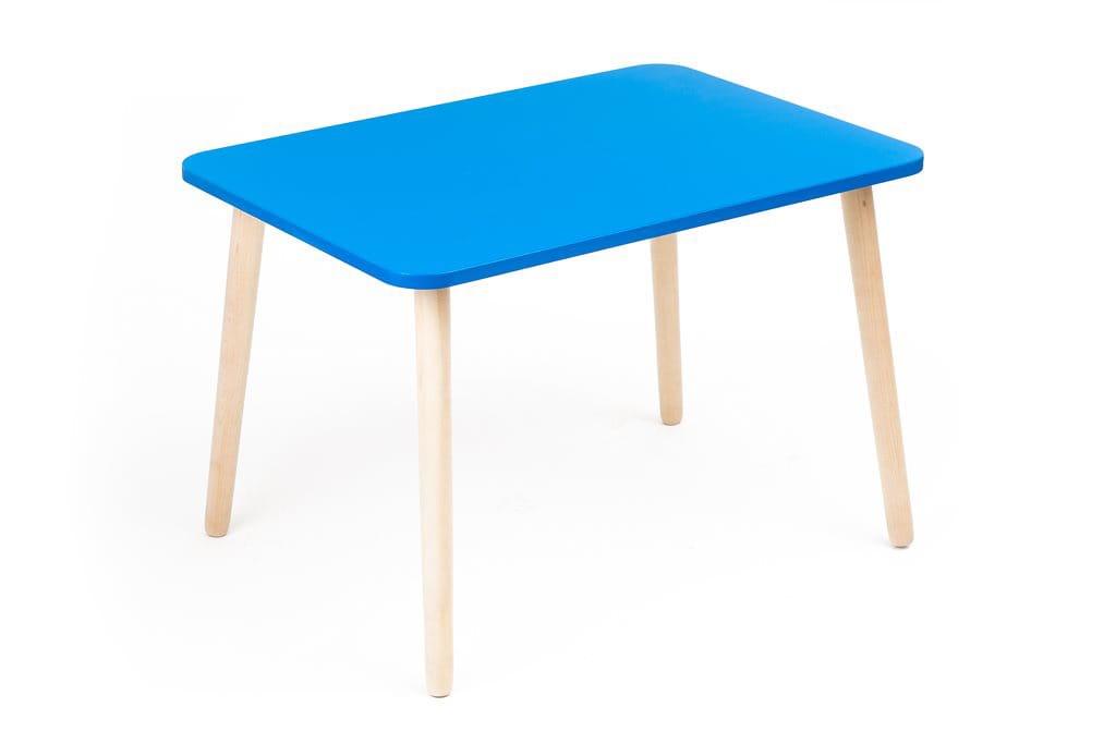 Детский столик Джери голубой (цвет столешницы: голубой, цвет ножек стола: береза)