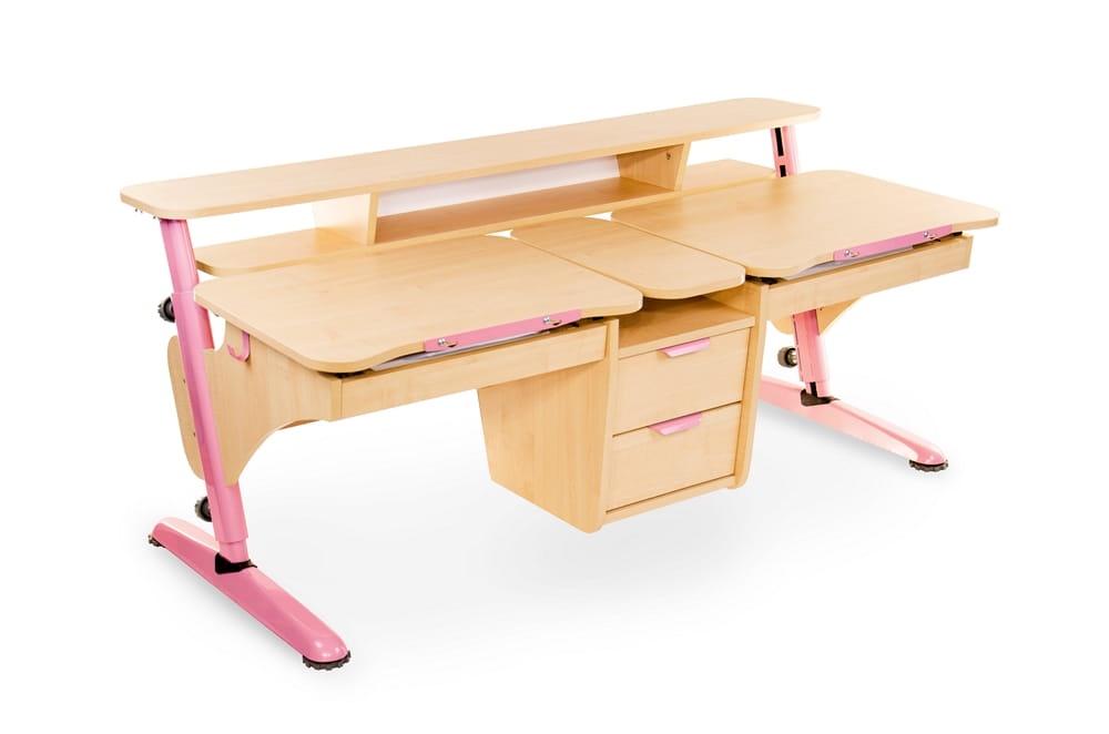 Растущая парта Pondi Эргономик для двоих детей (цвет столешницы: клен, цвет ножек стола: розовый)