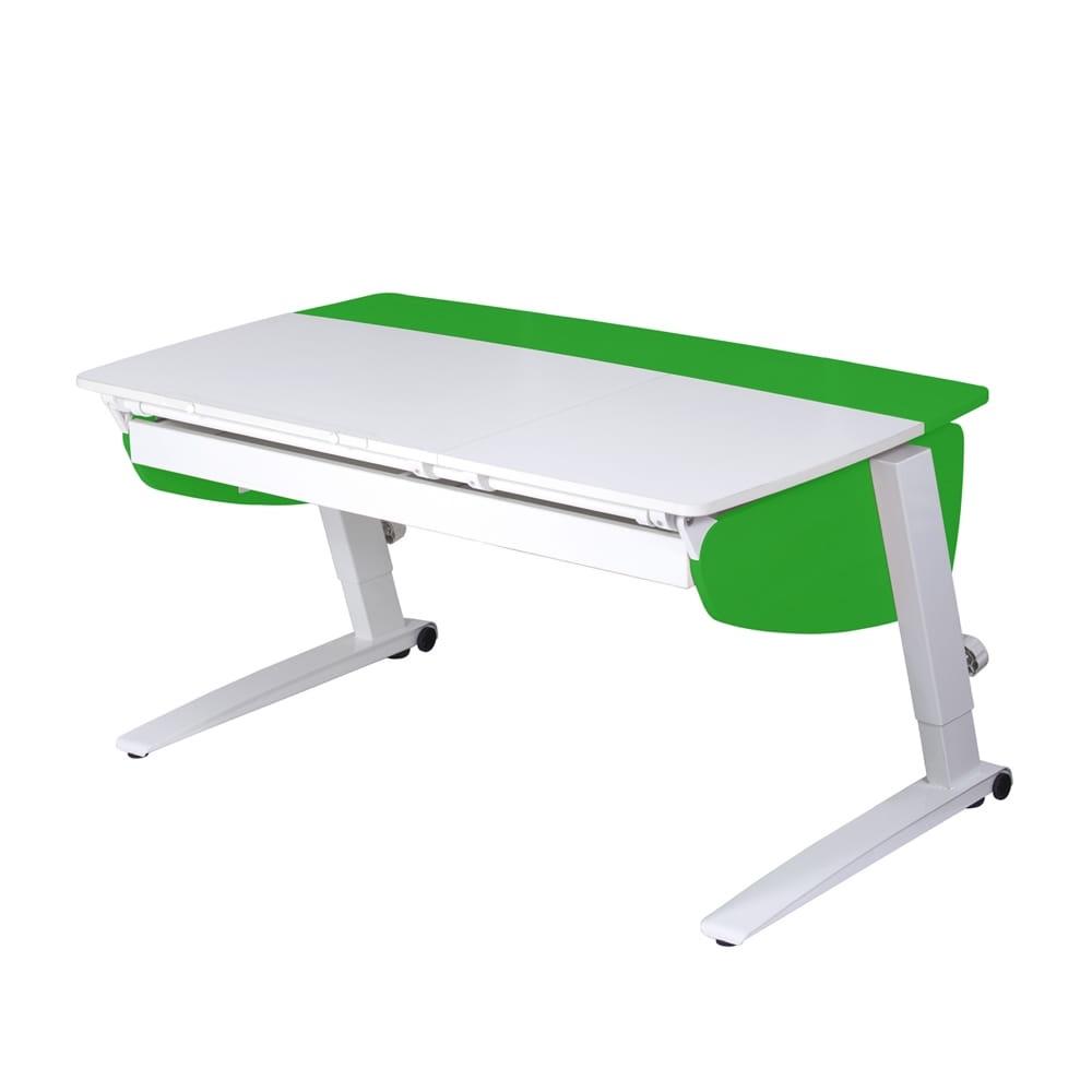 Парта растущая Астек Прайм с большим органайзером (цвет столешницы: белый, цвет боковин: зеленый, цвет ножек стола: белый)