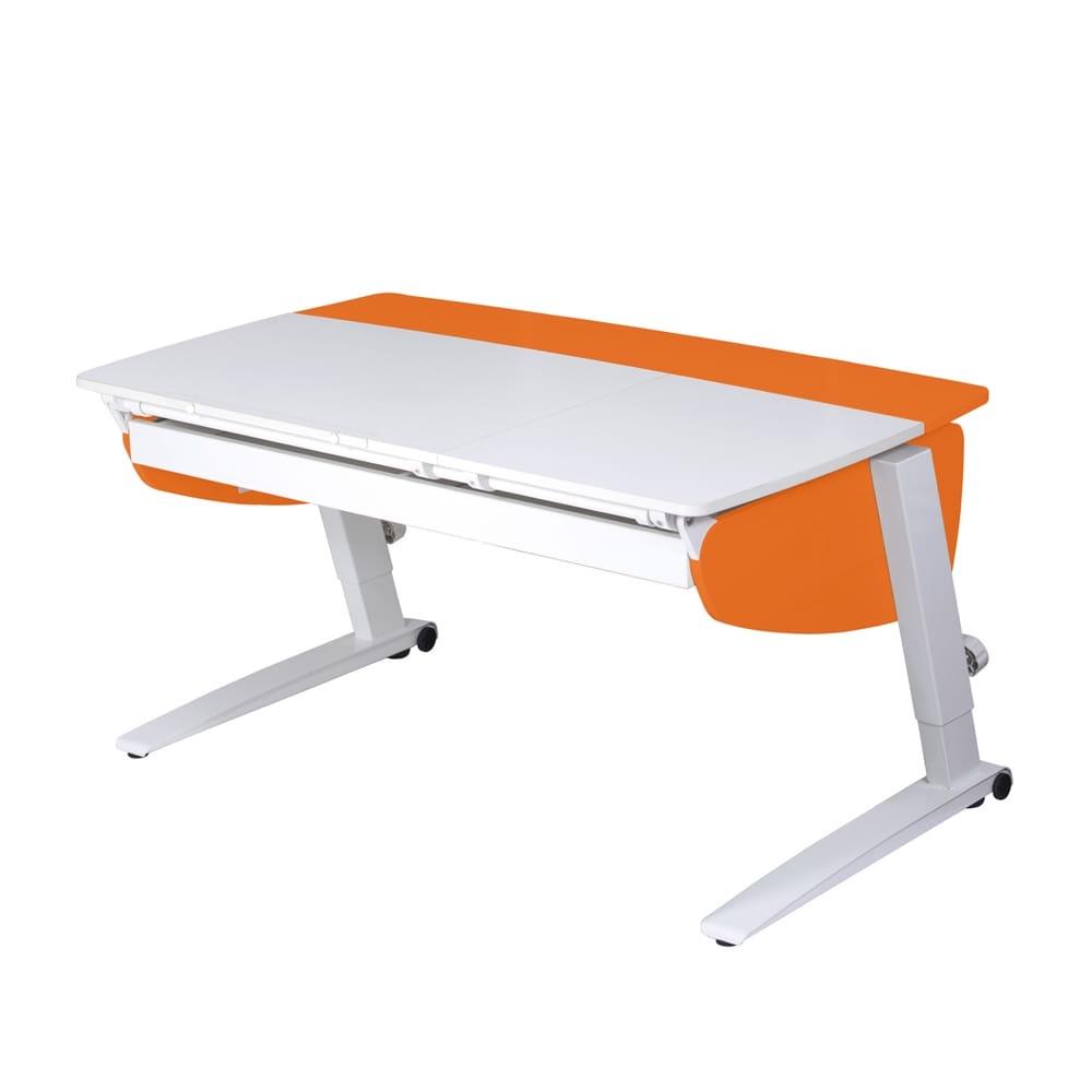 Парта растущая Астек Прайм с большим органайзером (цвет столешницы: белый, цвет боковин: оранжевый, цвет ножек стола: белый)