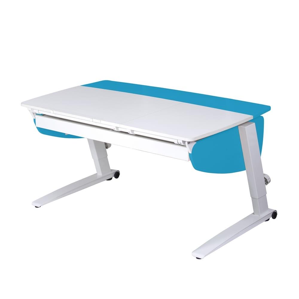 Парта растущая Астек Прайм с большим органайзером (цвет столешницы: белый, цвет боковин: голубой, цвет ножек стола: белый)