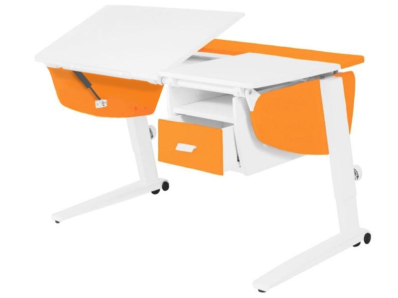 Парта растущая Астек Прайм с тумбой (цвет столешницы: белый, цвет боковин: оранжевый, цвет ножек стола: белый)