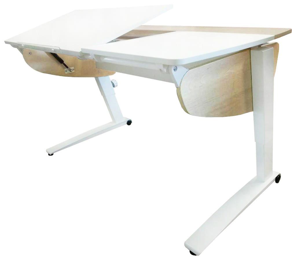 Парта растущая Астек Прайм (цвет столешницы: белый, цвет боковин: береза, цвет ножек стола: белый)