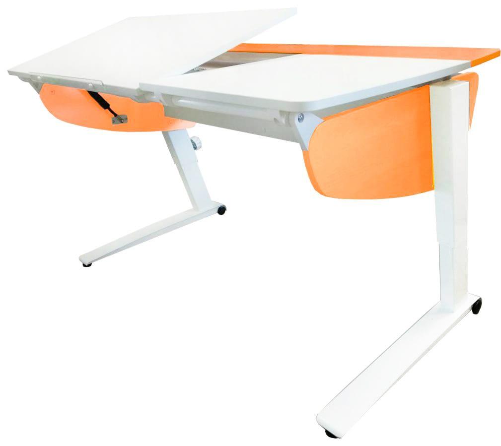 Парта растущая Астек Прайм (цвет столешницы: белый, цвет боковин: оранжевый, цвет ножек стола: белый)
