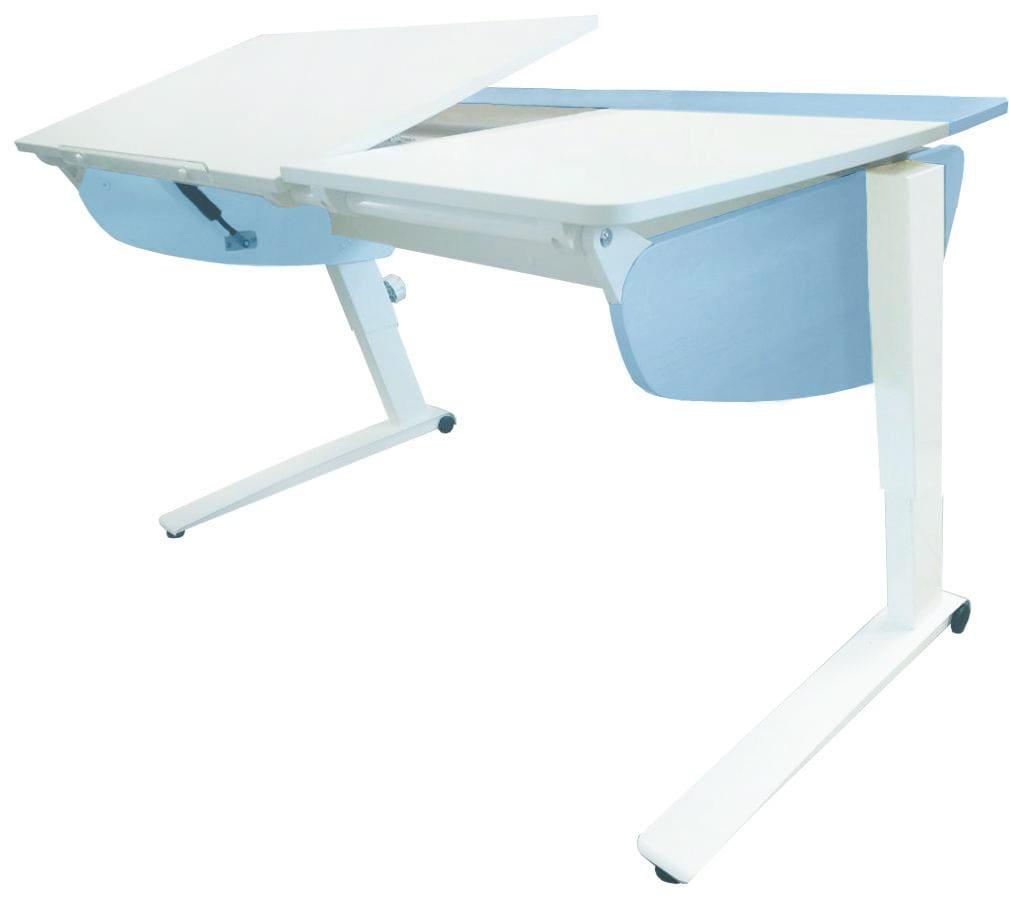 Парта растущая Астек Прайм (цвет столешницы: белый, цвет боковин: голубой, цвет ножек стола: белый)