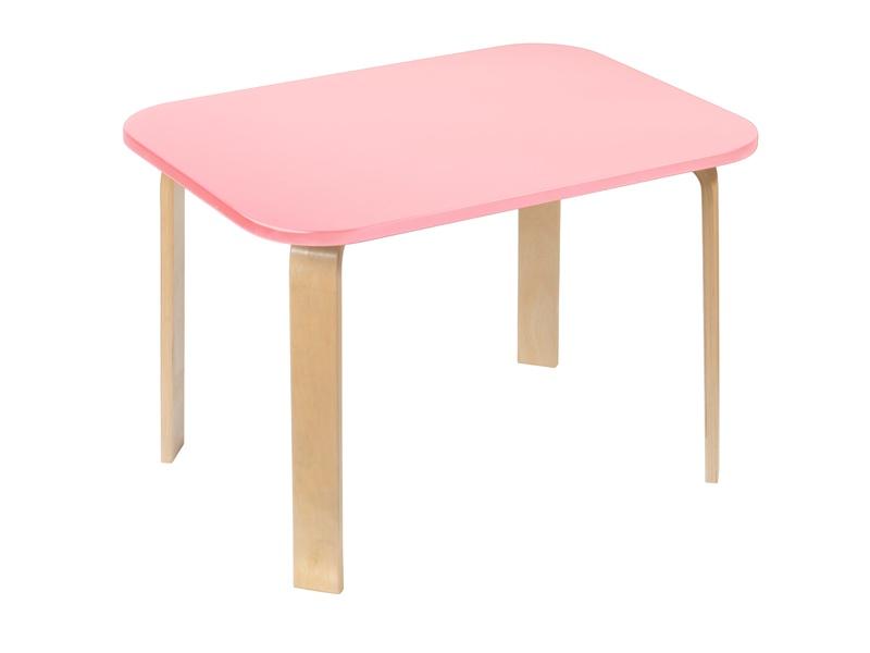 Детский столик Мордочки розовый (цвет столешницы: розовый, цвет ножек стола: береза)