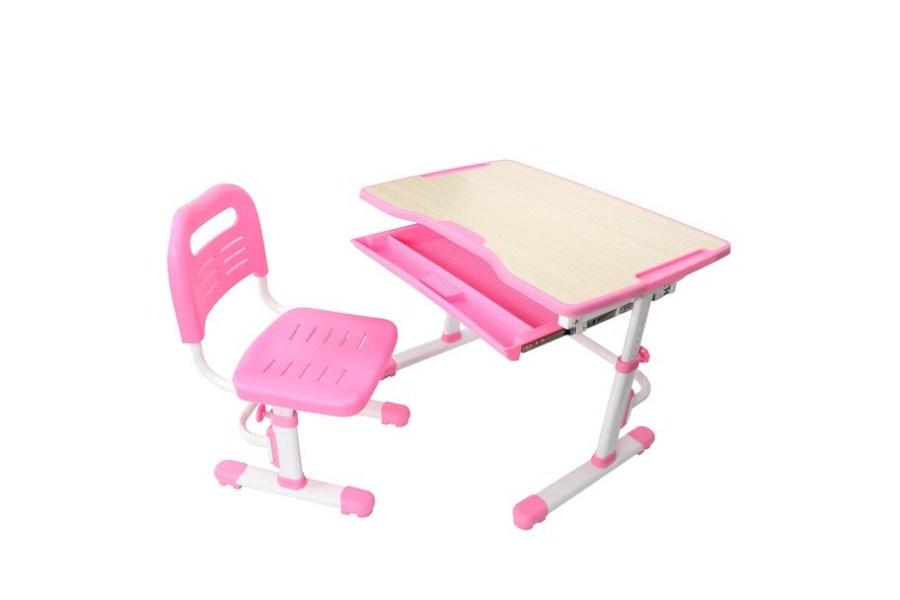 Комплект парта и стул трансформеры Fundesk Vivo (цвет столешницы: розовый, цвет ножек стола: белый)