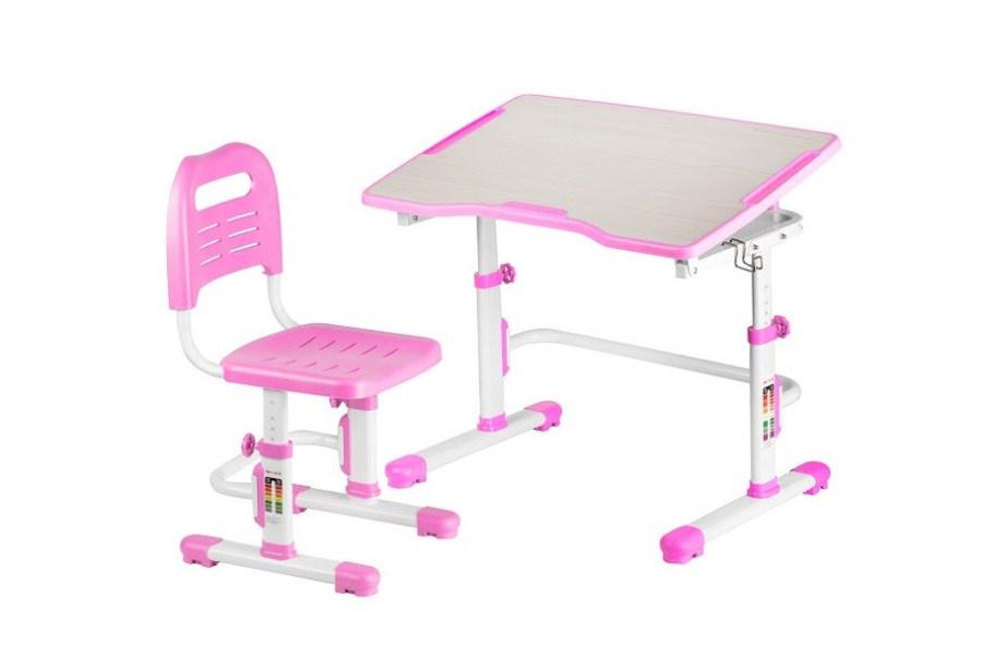 Комплект парта и стул трансформеры Fundesk Vivo 2 (цвет столешницы: розовый, цвет ножек стола: белый)