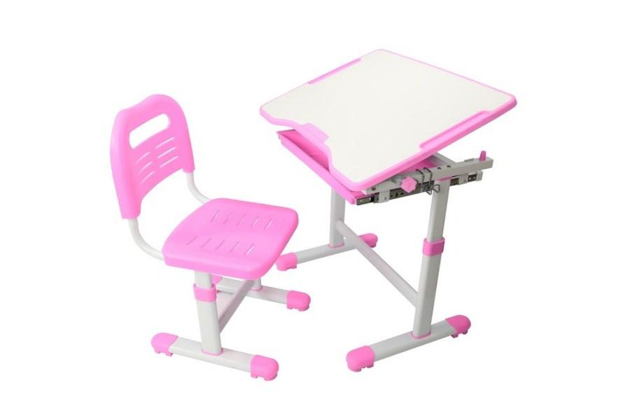 Комплект парта и стул трансформеры Fundesk Sole (цвет столешницы: розовый, цвет ножек стола: белый)