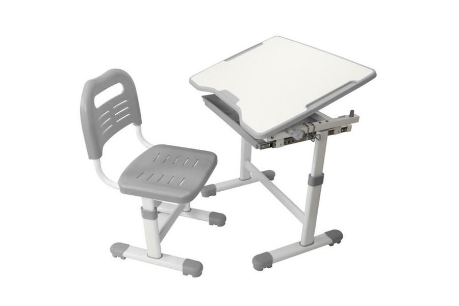 Комплект парта и стул трансформеры Fundesk Sole (цвет столешницы: серый, цвет ножек стола: белый)