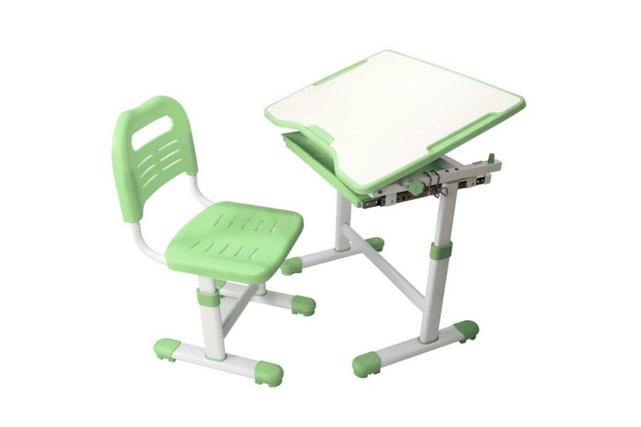 Комплект парта и стул трансформеры Fundesk Sole (цвет столешницы: зеленый, цвет ножек стола: белый)