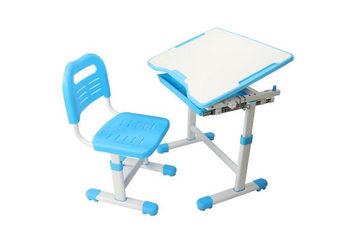 Комплект парта и стул трансформеры Fundesk Sole (цвет столешницы: голубой, цвет ножек стола: белый)