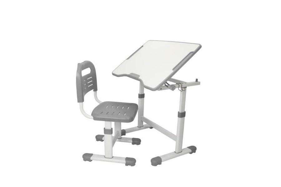 Комплект парта и стул трансформеры Fundesk Sole 2 (цвет столешницы: серый, цвет ножек стола: белый)