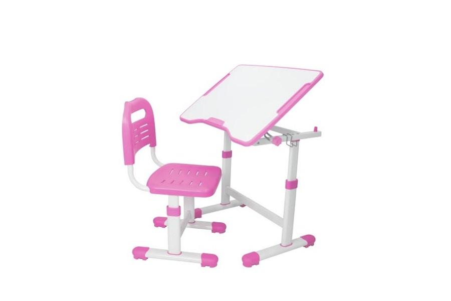 Комплект парта и стул трансформеры Fundesk Sole 2 (цвет столешницы: розовый, цвет ножек стола: белый)