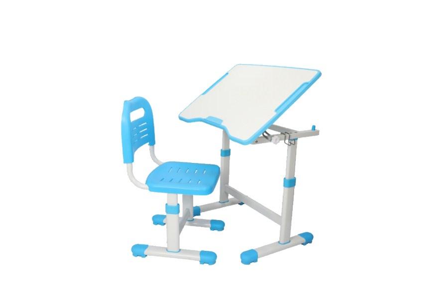 Комплект парта и стул трансформеры Fundesk Sole 2 (цвет столешницы: голубой, цвет ножек стола: белый)