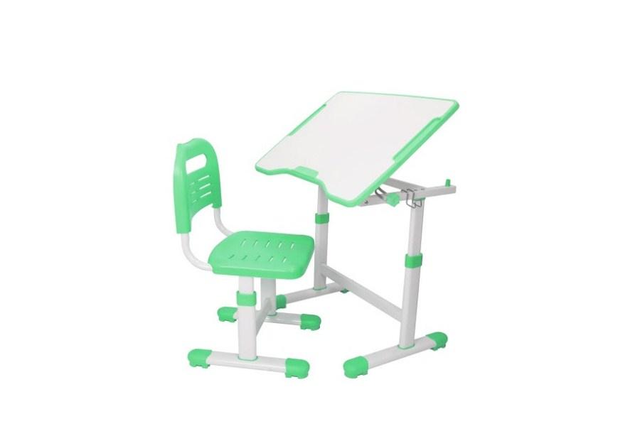 Комплект парта и стул трансформеры Fundesk Sole 2 (цвет столешницы: зеленый, цвет ножек стола: белый)