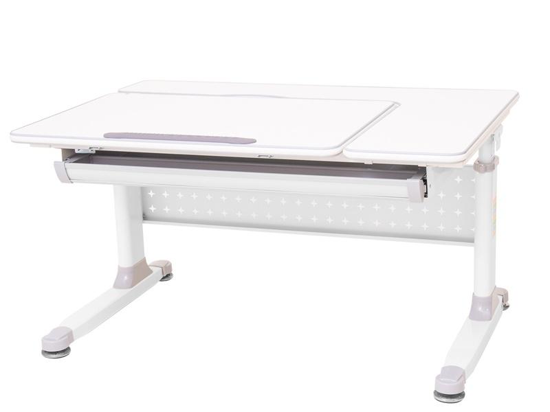 Парта растущая Rifforma-100 (цвет столешницы: белый, цвет ножек стола: белый, цвет кромки: светло-серый)