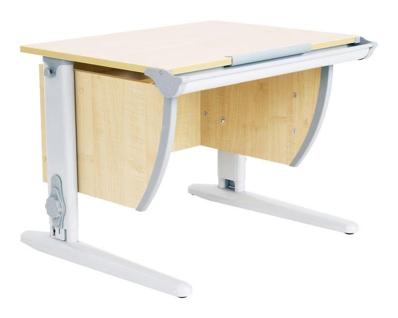 Парта школьная ДЭМИ СУТ-14 75х55 см (цвет столешницы: клен, цвет ножек стола: серый)