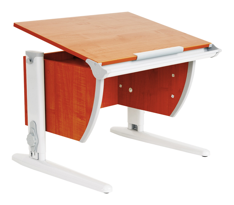 Парта школьная ДЭМИ СУТ-14 75х55 см (цвет столешницы: яблоня, цвет ножек стола: серый)