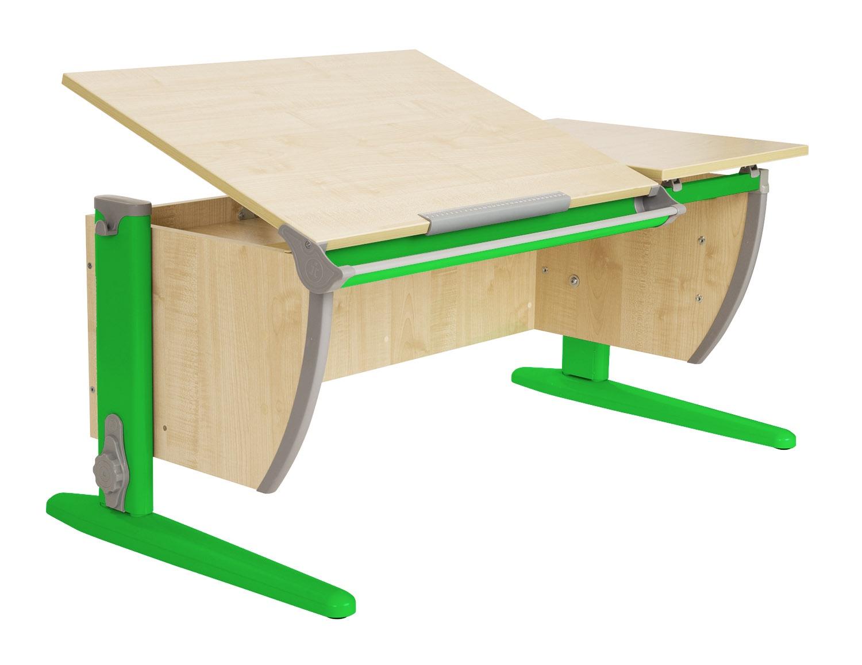 Парта Дэми 120Х55 см с раздельной столешницей (СУТ-17) (цвет столешницы: клен, цвет ножек стола: зеленый)