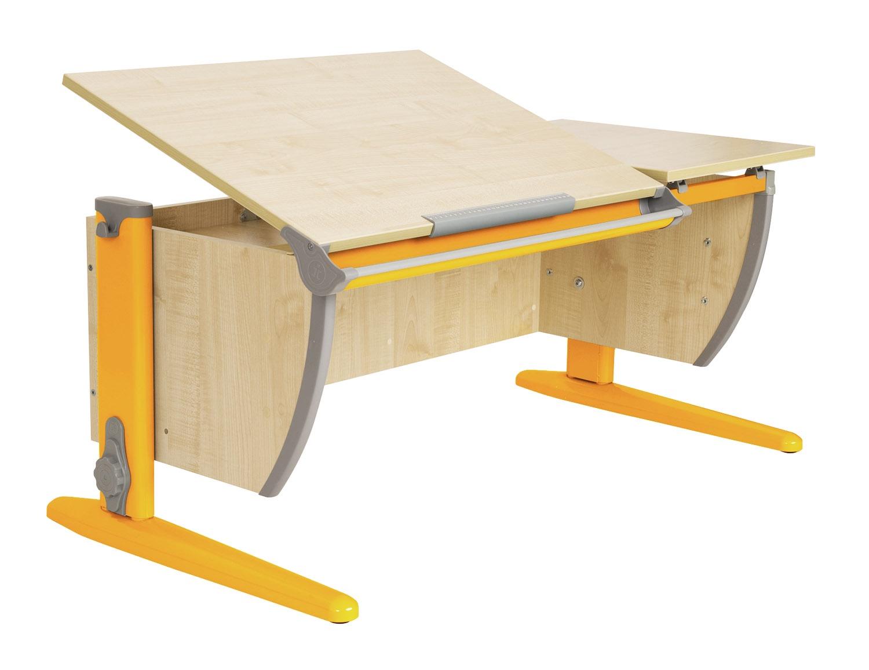 Парта Дэми 120Х55 см с раздельной столешницей (СУТ-17) (цвет столешницы: клен, цвет ножек стола: оранжевый)