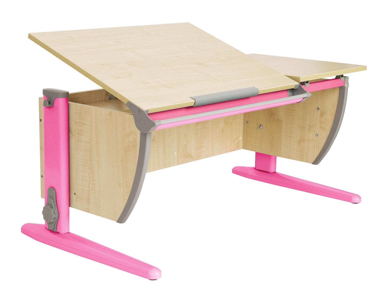 Парта Дэми 120Х55 см с раздельной столешницей (СУТ-17) (цвет столешницы: клен, цвет ножек стола: розовый)