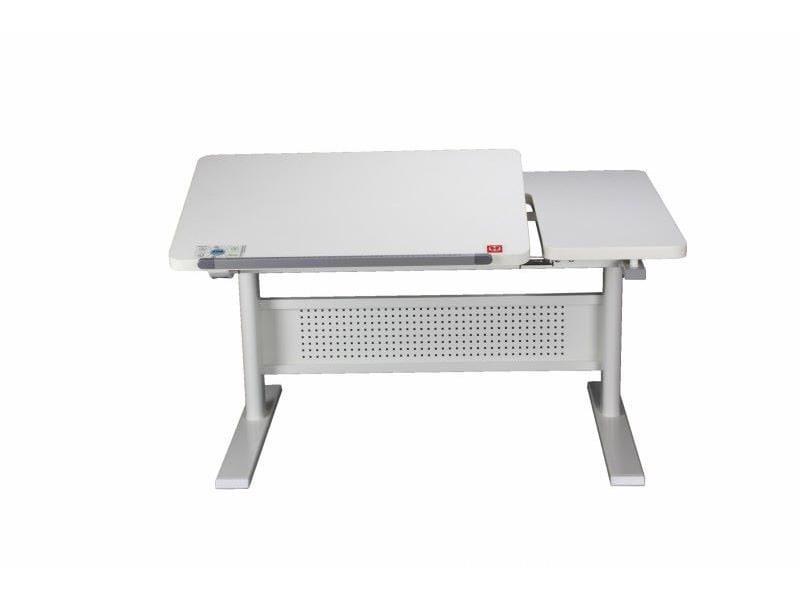 Стол парта для школьника KidsMaster K9 (цвет столешницы: белый, цвет боковин: зеленый, цвет ножек стола: белый)