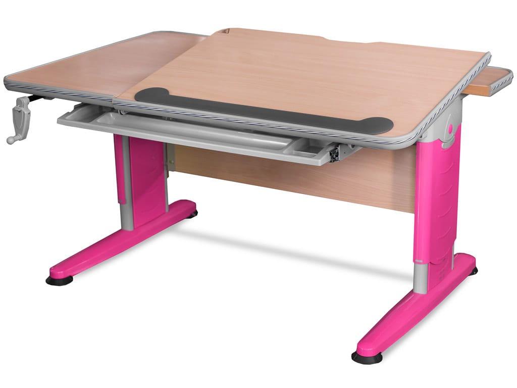 Детский стол Mealux Detroit (цвет столешницы: клен, цвет ножек стола: розовый)
