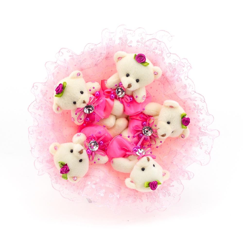 """Букет с медвежатами """"Зефирки"""" 5 игрушек (розовый)"""