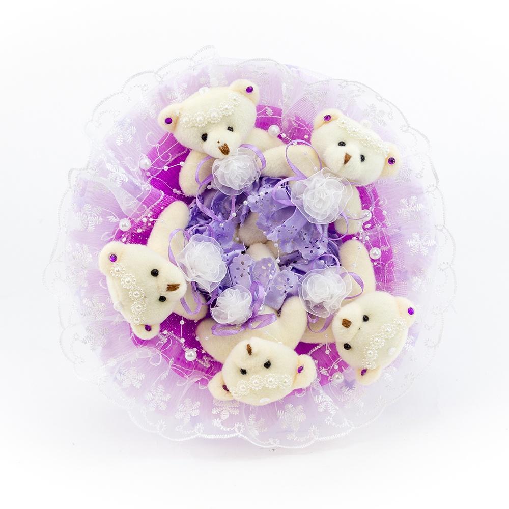"""Букет с медвежатами """"Зефирки"""" 5 игрушек (фиолетовый)"""