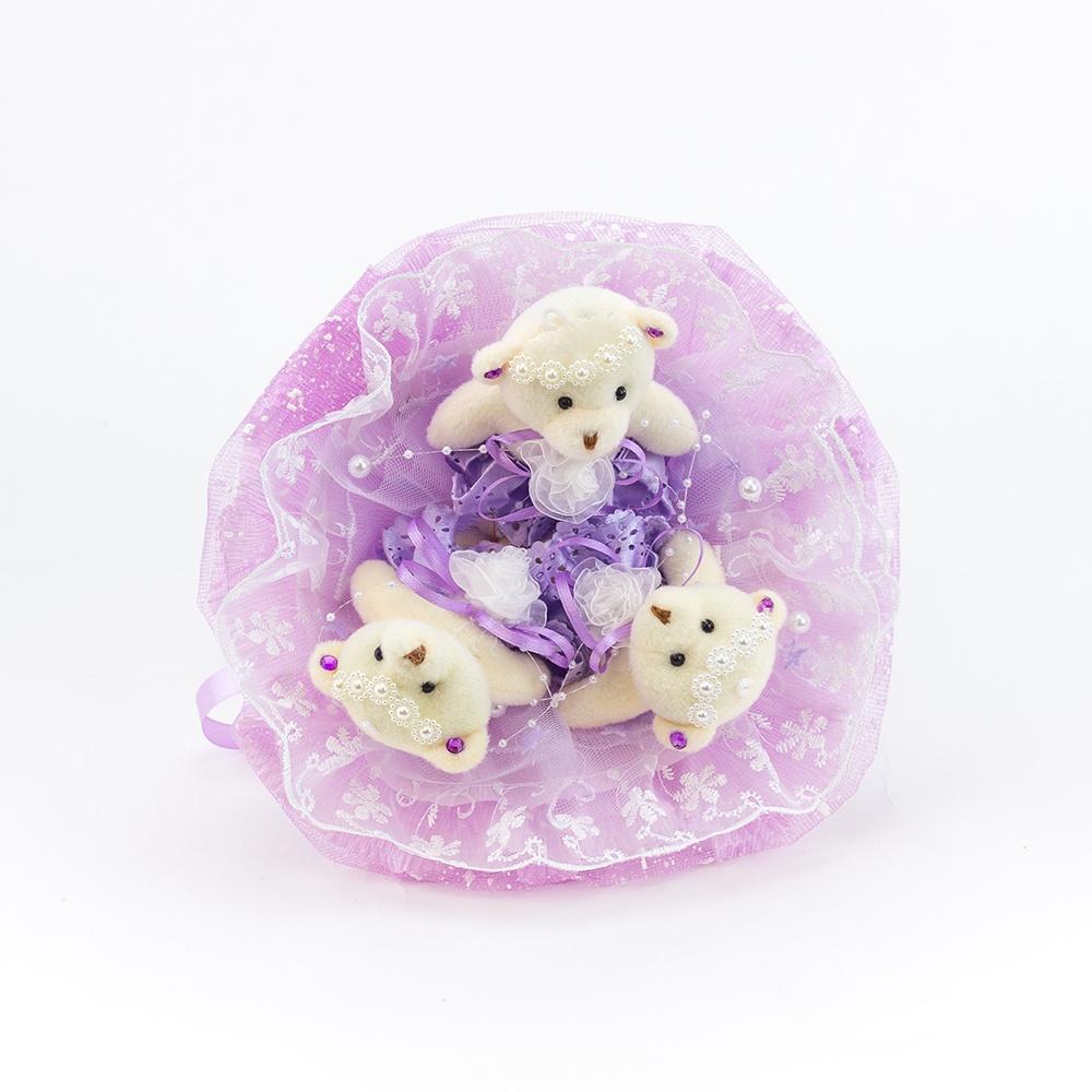 """Букет с медвежатами """"Зефирки"""" 3 игрушки (фиолетовый)"""