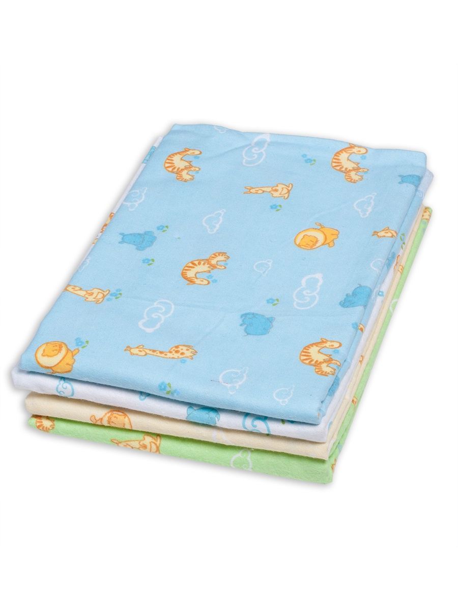Пеленки для новорожденных фланелевые Чудо-чадо Сыночку, ПТФ04-002, 4 шт., зверюшки