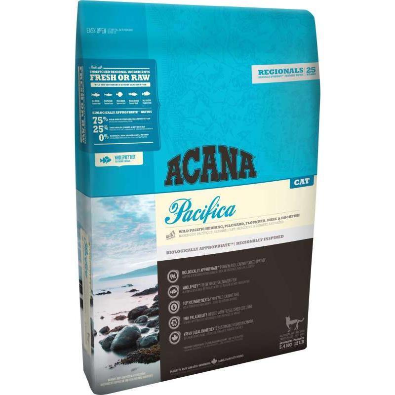 ACANA Pacifica корм для взрослых кошек и котят, беззерновой с рыбой 5,4кг