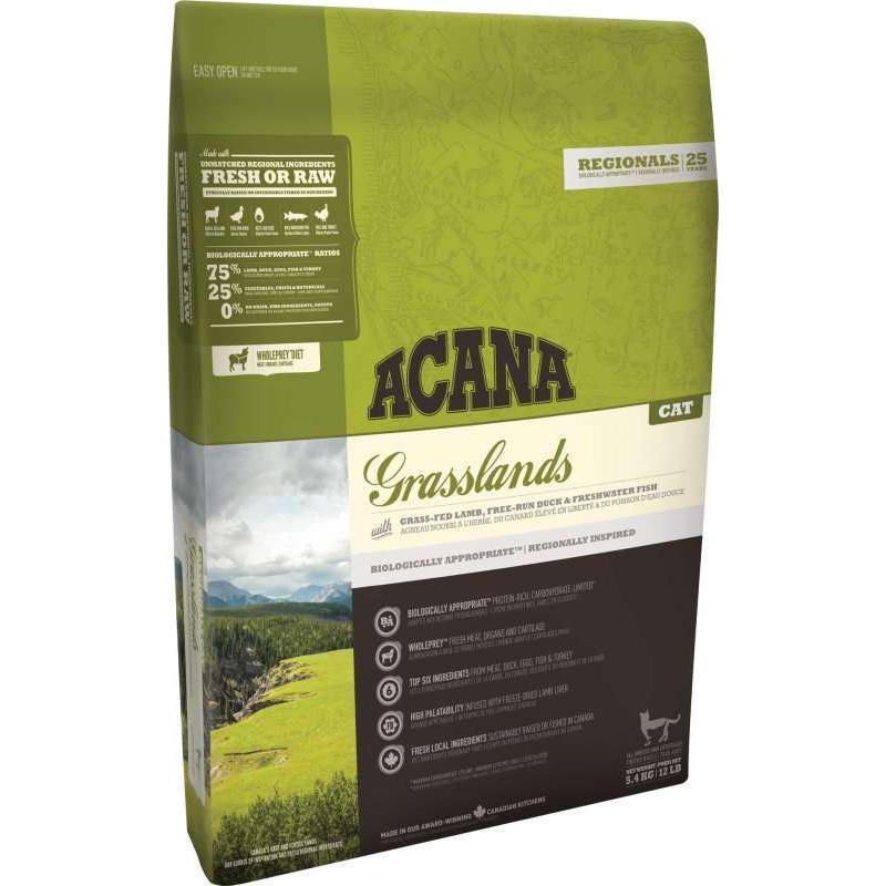 ACANA Grasslands корм для взрослых кошек, беззерновой с ягненком 5,4кг
