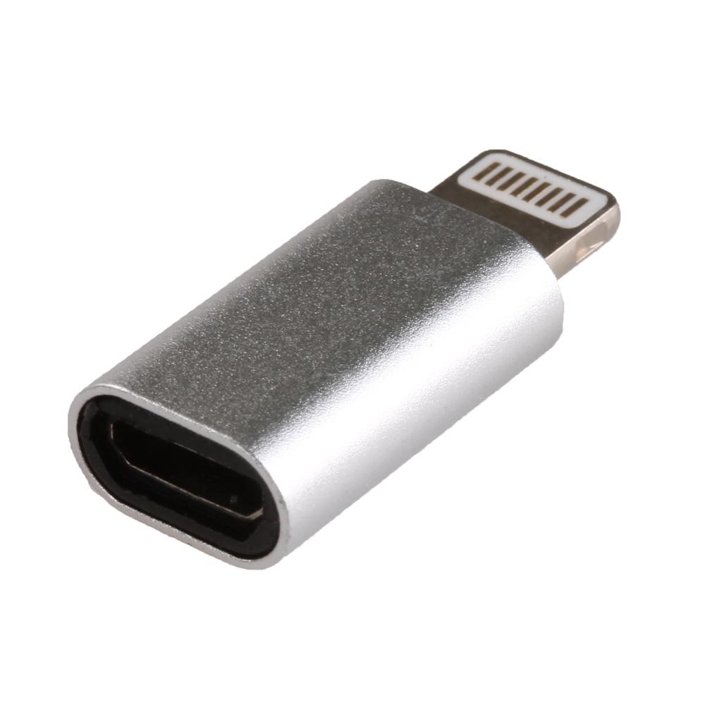 Переходник Apple 8 pin - микро USB(f) Perfeo I4313, плоский, пластик, цвет: серебряный переходник sata 8 pin