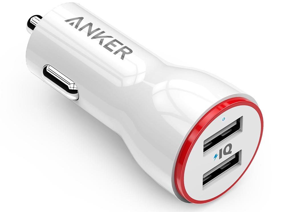 АЗУ Anker 24W 4.8А, 2 умных USB порта по 2.4А (белое) сетевое зарядное устройство usb anker 24w 2хusb 2х2 4a белое a2021321