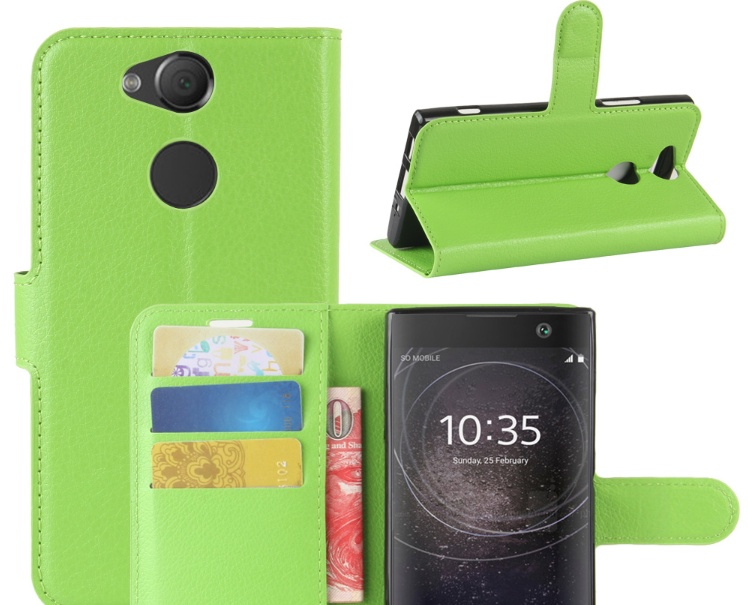 Чехол-книжка MyPads для Sony Xperia XA2 Dual с мульти-подставкой застёжкой и визитницей зеленый