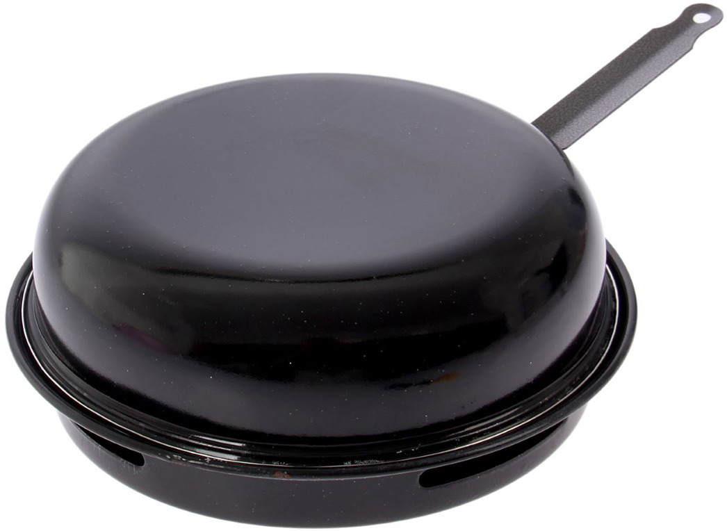 Сковорода Гриль-газ с крышкой, решеткой-гриль, эмалированным покрытием, мраморной крошкой. Диаметр 32 см. D-518