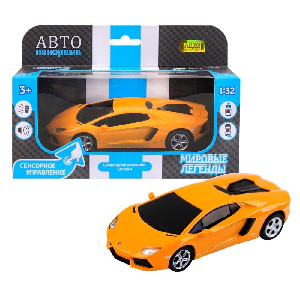 """Машинка металлическая ТМ""""Автопанорама"""",  1:32 Lamborghini Aventador LP700-4, желтый, сенсорное управление"""