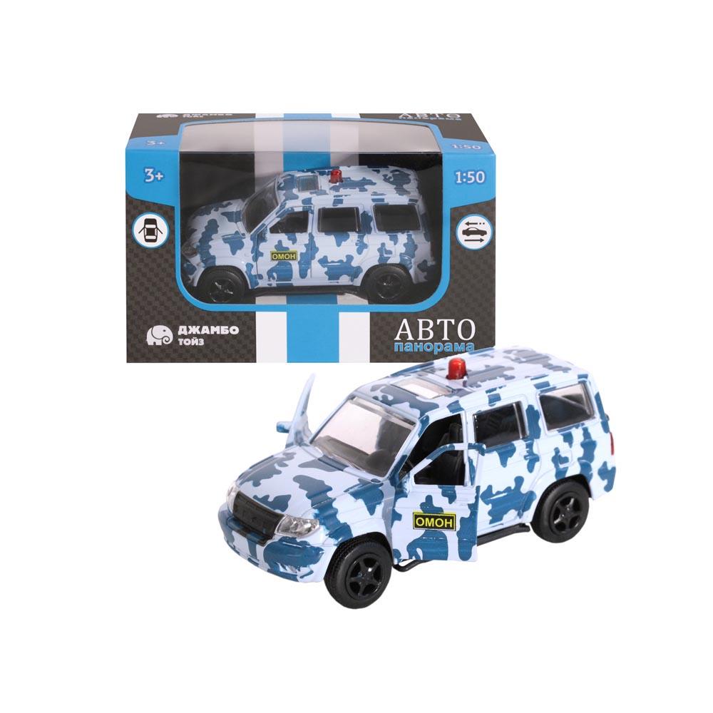 Машинка металлическая ТМАвтопанорама, ОМОН, 1:50, цвет хаки, инерция, в/к 12*7*5,5 см