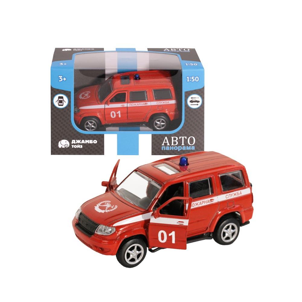 Машинка металлическая ТМАвтопанорама, Пожарная служба, 1:50, цвет красный, инерция, в/к 12*7*5,5