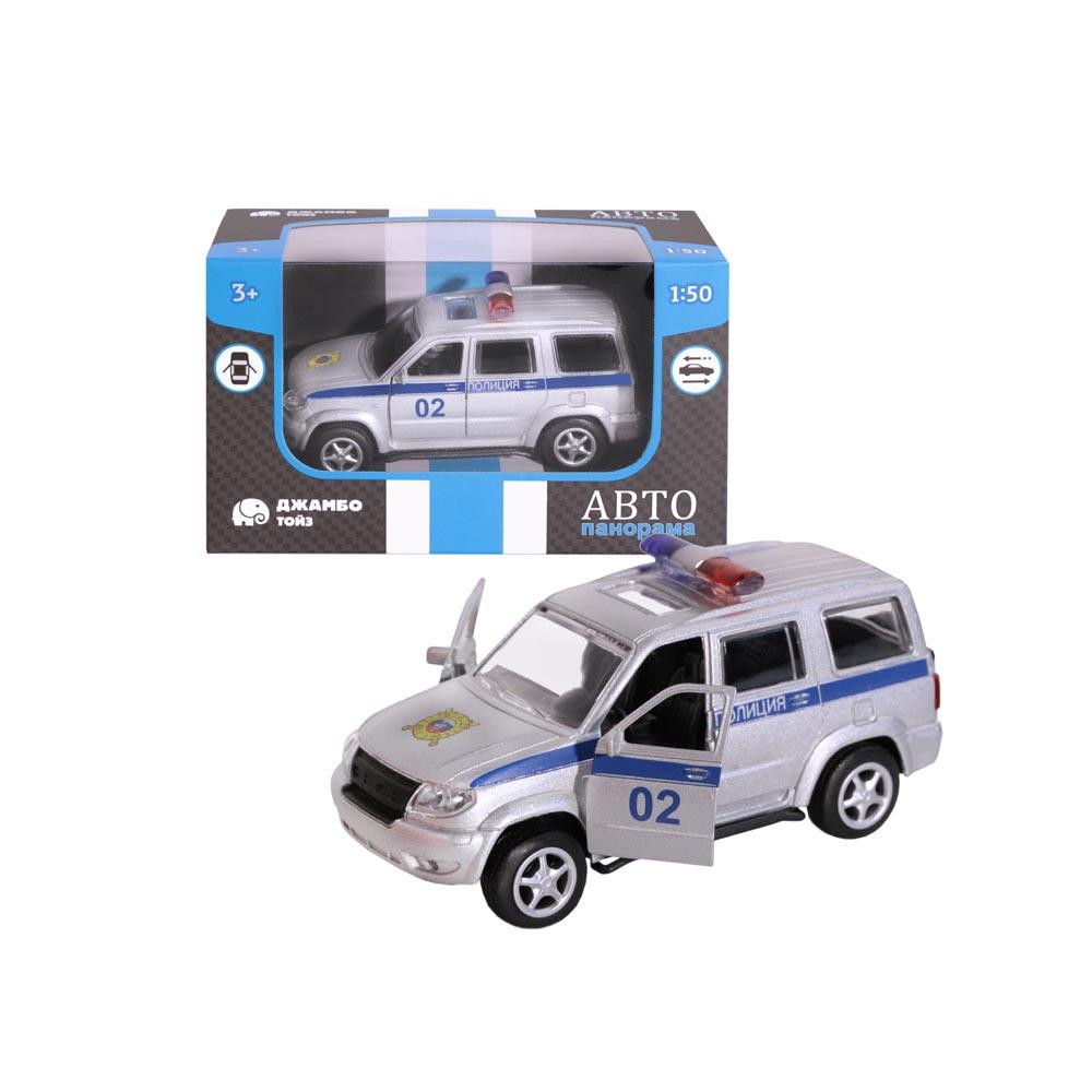 Машинка металлическая ТМАвтопанорама, Полиция, 1:50, цвет серебро, инерция, в/к 12*7*5,5 см