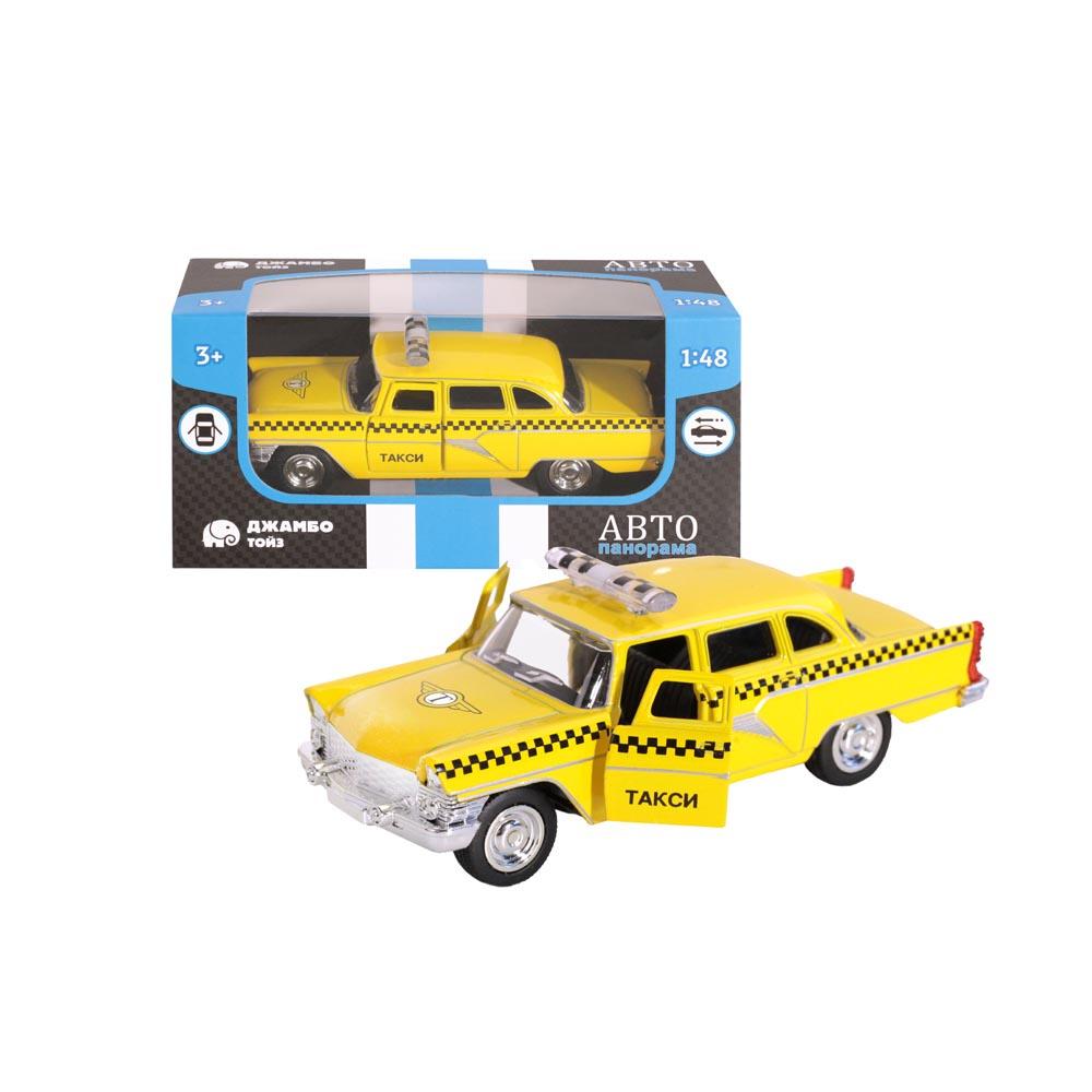 Машинка металлическая ТМАвтопанорама, Такси, 1:48, цвет желтый, инерция, в/к 14*5,5*6,6 см
