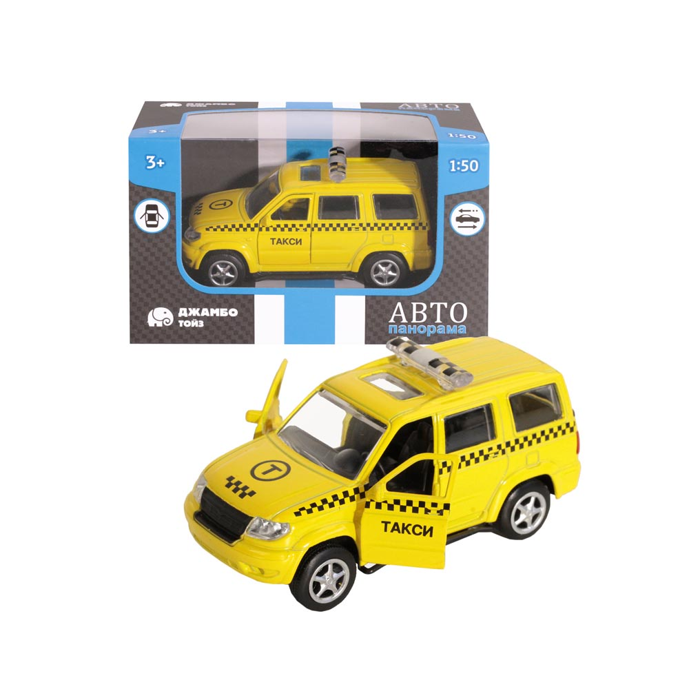 Машинка металлическая ТМАвтопанорама, Такси, 1:50, цвет желтый, инерция, в/к 12*7*5,5 см