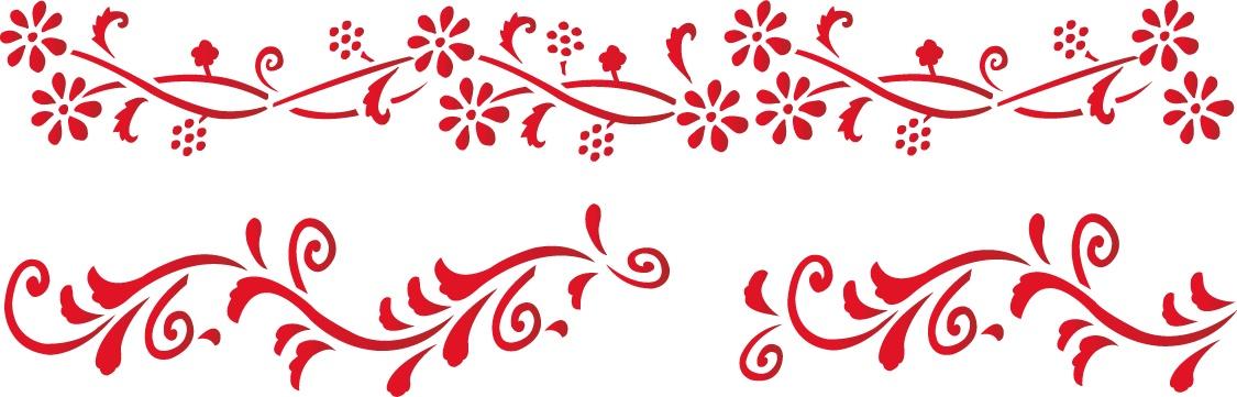 Трафарет 15х40, № 128, цветы наклейки les decoratives трафарет ld ld01421