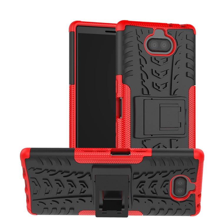 Чехол MyPads для Sony Xperia 10 Plus Противоударный усиленный ударопрочный красный