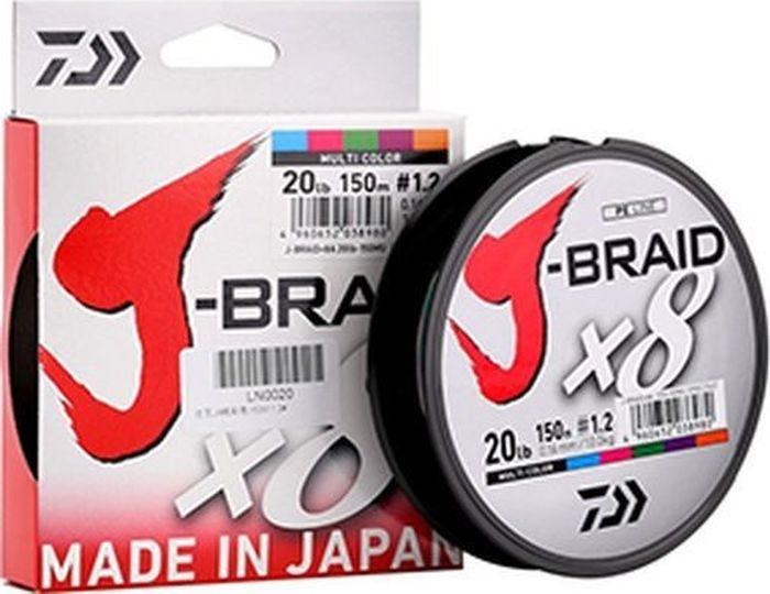 Плетеный шнур Daiwa J-Braid X8, 12755-013RU, мультиколор, 0,13 мм, 150 м