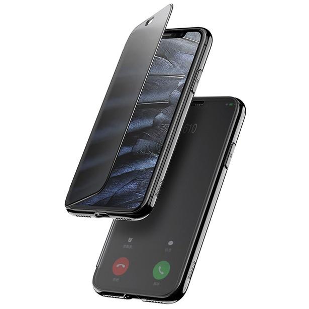 Чехол-книжка для iPhone X/XS с сенсорной крышкой Baseus Touchable Case - Черный (WIAPIPH58-TS01) чехол книжка dbramante1928 milano для iphone x материал натуральная кожа пластик цвет черный