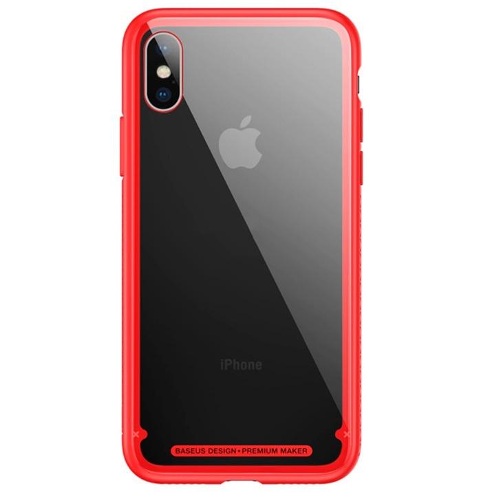 Чехол для iPhone X с прозрачной задней панелью Baseus See-through Glass - Красный (WIAPIPHX-YS09)